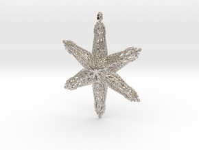 Snowflake B in Rhodium Plated Brass
