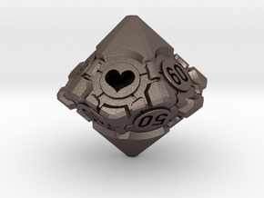 Spindown Companion Cube 10D10 - Portal Dice in Polished Bronzed Silver Steel: Large