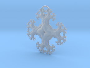 Fractal Trees Cross Pendant in Smooth Fine Detail Plastic