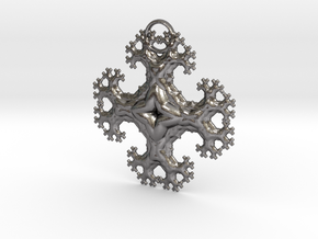 Fractal Trees Cross Pendant in Polished Nickel Steel