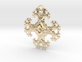 Fractal Trees Cross Pendant in 14k Gold Plated Brass