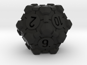 Companion Cube D12 - Portal Dice in Black Natural Versatile Plastic: Large