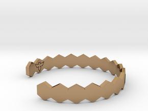 Geometric Hex Bracelet S-XL in Polished Brass: Small