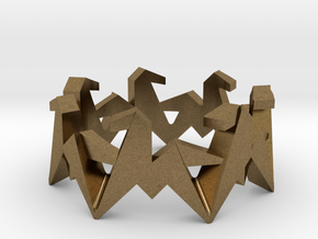 Origami Geometric Horse Ring Sizes 6-10 in Natural Bronze: 7 / 54