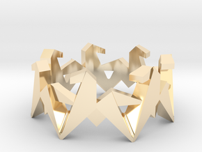 Origami Geometric Horse Ring Sizes 6-10 in 14k Gold Plated Brass: 7 / 54