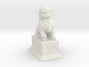 1/24 Chinese Stone Lion Gate Keeper (L) in White Strong & Flexible