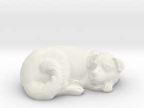 1/24 Dog Sleeping for Diorama in White Natural Versatile Plastic