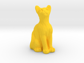 1/24 Cat Sitting and Staring for Diorama in Yellow Processed Versatile Plastic