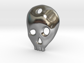 SKULL charm or pendant in Polished Silver