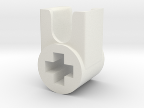 Mixel Connector (90deg) in White Natural Versatile Plastic