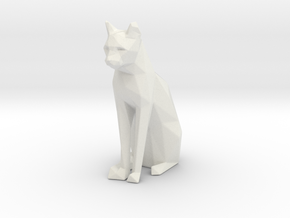 Sitting cat low poly in White Natural Versatile Plastic