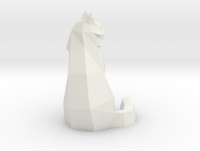 Low Poly Cat in White Natural Versatile Plastic