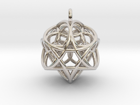 Flower of Life Fire Pendant in Rhodium Plated Brass