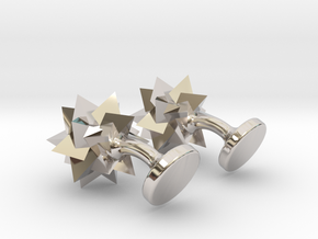 Tetrahedra Cufflinks in Rhodium Plated Brass