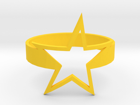 Star Ring in Yellow Processed Versatile Plastic