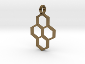 Hex Drop Necklace in Polished Bronze