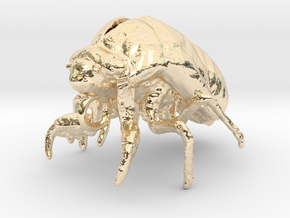 Cicada Nymph Molt Pendant in 14k Gold Plated Brass