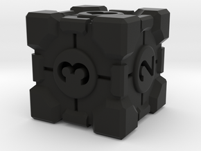 Companion Cube D6 - Portal Dice in Black Natural Versatile Plastic: Small