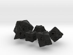 Companion Cube Polyhedral 6 Dice Set in Black Natural Versatile Plastic: Small