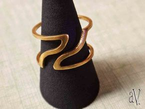 Line Break Bend Ring in Natural Brass: 8 / 56.75