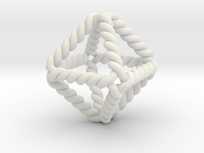 """Twisted Octahedron 1"""" LH in White Natural Versatile Plastic"""