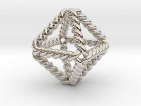 """Twisted Octahedron 1"""" LH in Rhodium Plated Brass"""