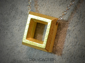 Chisel ::: Square Pendant ::: v.01 in Polished Gold Steel
