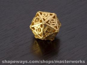Steampunk D20 in Polished Bronzed Silver Steel