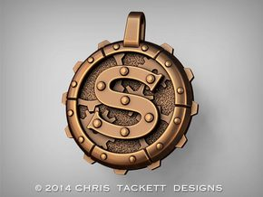 "Steampunk Monogram Pendant ""S"" in Raw Bronze"