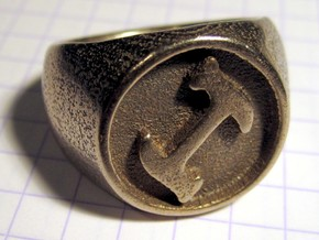 Stonecutter Ring (size 13) in Polished Bronzed Silver Steel