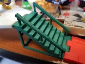 Titans Return Staircase with Side Railings in Green Processed Versatile Plastic