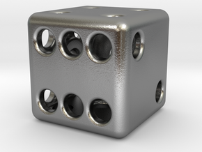 Balanced Hollow Dice (D6) (1.5cm) (Method 1) in Natural Silver