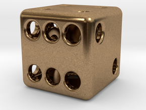 Balanced Hollow Dice (D6) (1.5cm) (Method 1) in Natural Brass