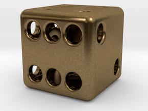 Balanced Hollow Dice (D6) (1.5cm) (Method 1) in Natural Bronze