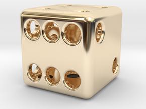 Balanced Hollow Dice (D6) (1.5cm) (Method 1) in 14K Yellow Gold