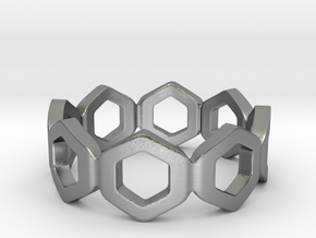 Bee Square Single Ring in Natural Silver: 4 / 46.5