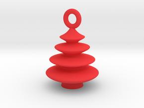 Xmas Tree Pendant 2cm tall in Red Processed Versatile Plastic