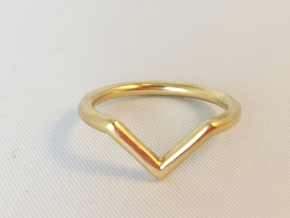 V Ring in Polished Brass: 6 / 51.5