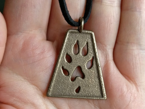 Unisex ferret pendant in Polished Bronze Steel
