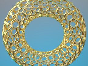 Torus Fractal Stainless Steel Big in Polished Gold Steel