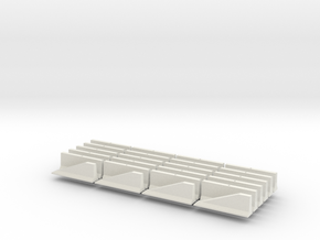 N Scale Jersey Barrier 20 each 10ft in White Natural Versatile Plastic