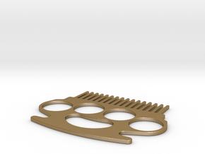 Brass Knuckle Comb/Beard Comb (outward teeth) in Polished Gold Steel