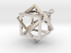 Boxed Box Pendant in Platinum