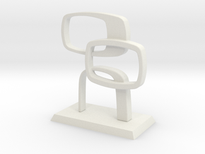 Desktop Contempo Sculpture in White Natural Versatile Plastic: Medium