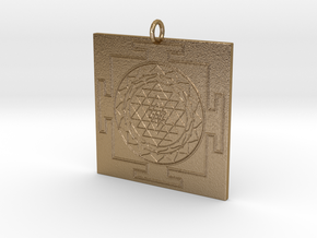 Sri Yantra Pendant in Polished Gold Steel