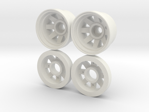 Marui CJ-7/Land Cruiser Front Wheels in White Natural Versatile Plastic
