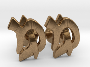"Hebrew Monogram Cufflinks - ""Mem Gimmel"" in Natural Brass"