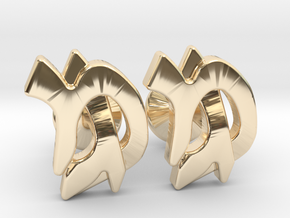 "Hebrew Monogram Cufflinks - ""Mem Gimmel"" in 14k Gold Plated Brass"