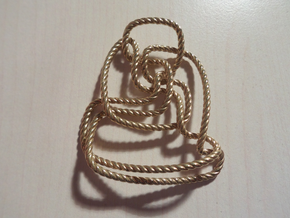 Thistlethwaite unknot (Rope) in Polished Brass: Extra Small