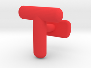 T Cufflink in Red Processed Versatile Plastic